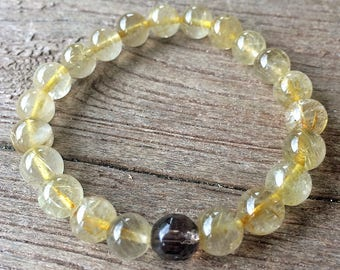 Golden Rutilated and Smoky Quartz Grounding Bracelet