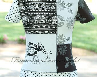 Elephant patchwork top, black white modern chic t-shirt top, asymmetrical jersey shirt, hand printed artsy stylish fitted top size Medium