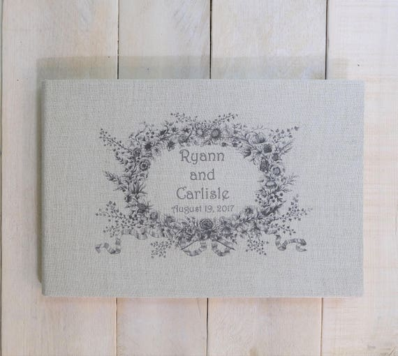 Personalized Wedding Guest Book - Vintage Wreath - Lined or Unlined
