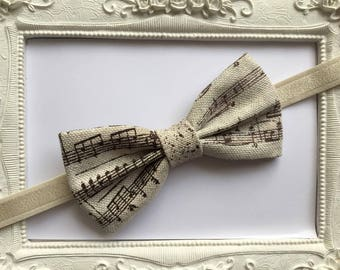 Music bow tie Brown Beige cotton fabric