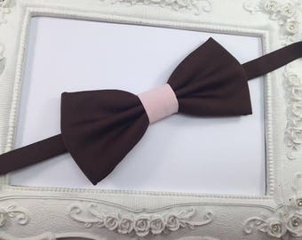 Bow tie chocolate brown and pale pink - man