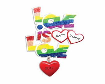 Personalized Love is Love Rainbow Christmas Ornament