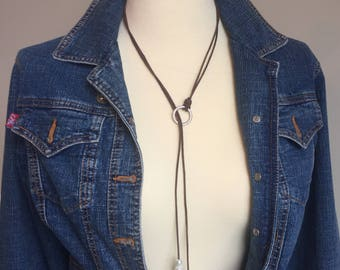 Sliding Leather and Pearl Lariat Necklace