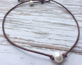 Dark Brown Leather and Pearl Choker Necklace ~ Single White Freshwater Pearl Boho Beach Necklace