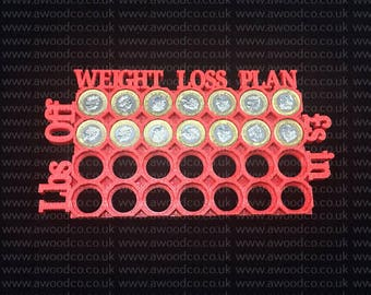 U.K weight Loss Tracker Goal Board. Money collector - Goal Calender - lBS off Cash in - FREE UK DELIVERY - 3D printed