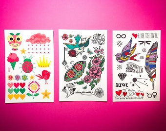Temporary Tattoos - Mother and Daughter trio set  // Gifts for kids.