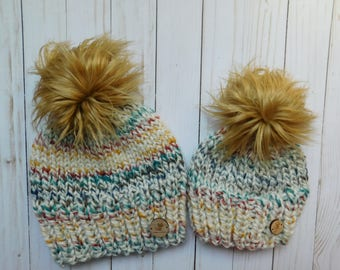 Mommy and me hudson bay hats. Mom and son hats. matching hats .Mom and daughter hats. baby hats. hat with faux fur pom poms