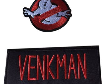 Ghostbusters No Ghost With Venkman Red on Black Name Tag Costume Patch Set of 2