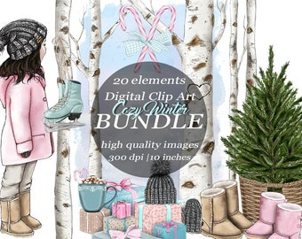 Cozy Winter Clipart White Skin Fashion Girl  Bundle Winter Birch Tree Forest Clip Art Digital Craft Scrapbook Ice Skating UGG Boots Gifts