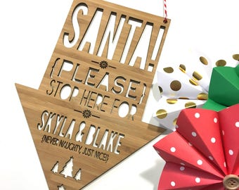 Santa Please Stop Here Bamboo Wall Hanging
