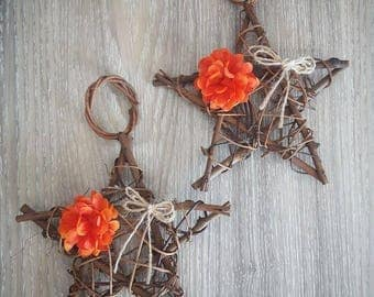 "PAIR of 6"" Stars - Rustic Wood Star - Star Vine - Door Hanging - Rustic Star - Autumn - Fall Decor - Natural Wood - Twig Star - Wood Star"