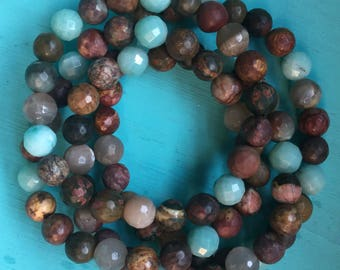 Stackable Mala Inspired Spiritual Junkies Jasper, Amazonite + Sunstone Yoga and Meditation Bracelet (single bracelet)