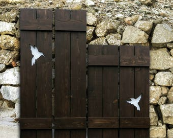 Rustic lodge decor pair of bear decor wood shutters rustic