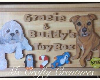 dog toy box, cusomised wooden toy box, dog toy storage, pet toys, dog toys