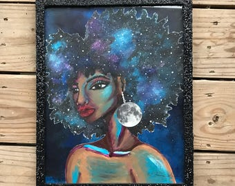 "Black art -natural hair- afro art- galaxy -wall art- black woman - ""outlier"""