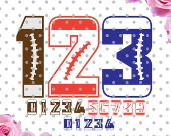 Football numbers Svg, sports numbers svg, Football SVG, DXF, numbers svg, sports svg, Cricut Design Space, Digital Cut Files
