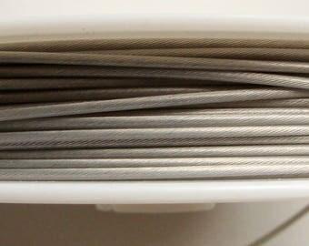 Fil cable 1mm bobine 10m Gris fil gaine crinelle Cordon