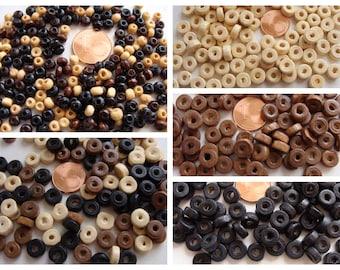 100 perles rondelles 8x3,5mm BOIS peint Noir- Crème- Marron ou MIX ou petites perles rondes rocailles 10g
