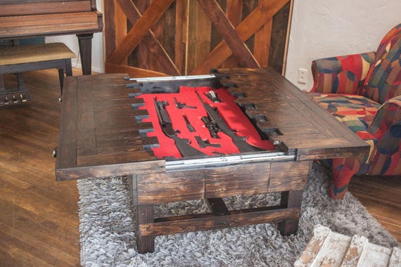 Coffee Height Secret Compartment Table For Storing Guns