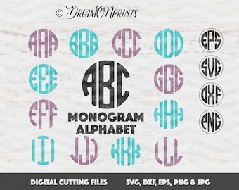Circle Monogram Alphabet Font SVG DXF EPS Png Cricut Design, Silhouette studio, Vinyl Decal Cut File, Monogram Letters SVDL002