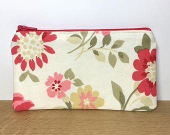 Floral zip purse, coin purse, small change purse, zip pouch, pink floral purse, gifts for her, clarke and clarke fabric