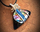 RESERVED FOR CARRIE- Deathly Hallows Fused Glass Dichroic Pendant