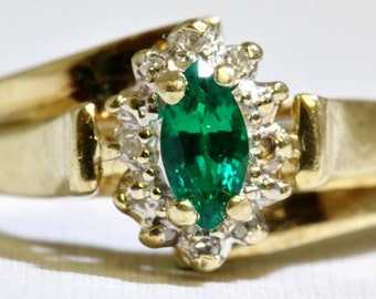 May Birthstone - Vintage 10K Solid Yellow Gold Bypass Shank Marquise Emerald & Diamond Halo Ring Size 5