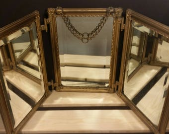 Antique Tri Fold Barbers Mirror with Hang Chain