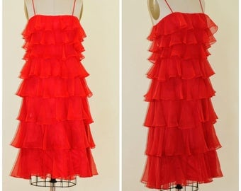 VTG RED 1920s style tiered 70s dress