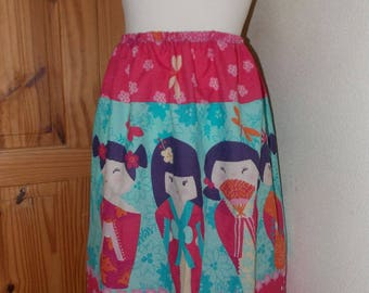 cute japanese doll kokeshi handmade skirt one size