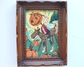 Original Painting in Frame - Jack Pumpkinhead & The Saw Horse - Oz Books
