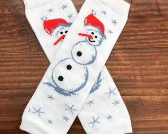 Snowman Leg Warmers - Newborn to 4 Years Old - Christmas Leg Warmers (READY TO SHIP)