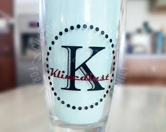 Monogrammed 18oz Thick-Bottomed Multipurpose Drinking Glass, Wedding/ Shower Gifts, Party Decor, Modern, Classic, Country table setting