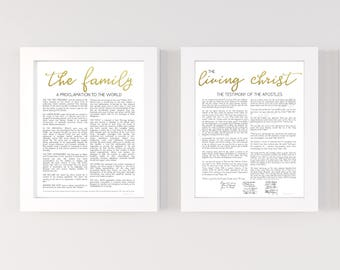 Bundle, The Family Proclamation. Living Christ, Printable, Gold, Foil, 16x20, 11x14, 8x10, Family Proclamation, Living Christ, LDS Signs