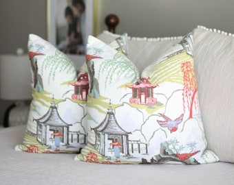 Robert Allen Neo Toile coral print toss pillow cover, Chinoiserie pillow, Asian inspired, decorative pillow, Accent Pillow, Throw Pillow
