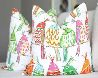 Birds on a wire pillow covers // bright pillow covers // bird decor // richloom sitting pretty