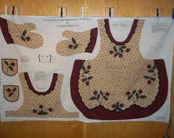 Holiday Gatherings Apron And Mitt Fabric Panel, By Leslie Beck, VIP Fabrics