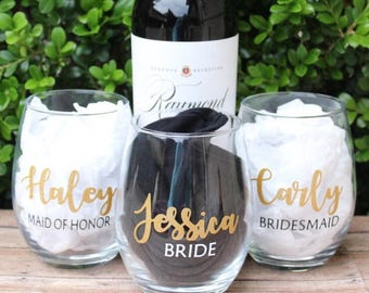 Bridal Party Wine Glasses Stemless | Bridesmaid Proposal Wine Glass | Bridal Party Gifts | Personalized Stemless Wine Glass | Maid of Honor
