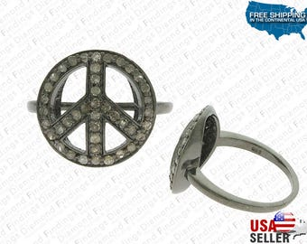 PEACE Sign Ring, Designer Ring, Special Steering Ring, Wheel Diamond Mid,  Silver RING, Peace Ring, Silver Diamond Rings Fancy Look