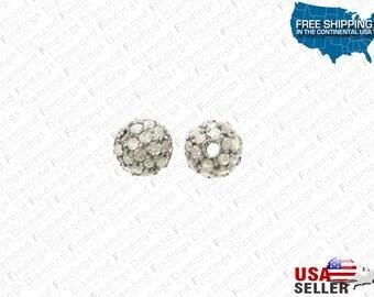 6 MM Diamond Silver Pave Bead with 925 Silver and Natural Single Cut Diamonds, Silver diamond bead, pave diamond bead