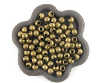 x 300 beads 4mm round bronze metal (128C)