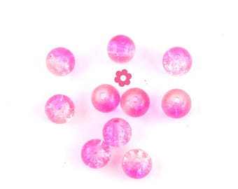Pink Crackle glass beads 50 x transparent 6mm (48 c)