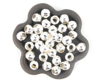 x 100 beads round 6mm bright silver metal (110 c)