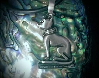 Pewter Egyptian Cat Bastet Necklace