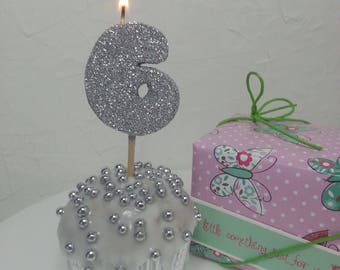 Candles | Birthday Candles | Number Candles |  Junior Shape Candles | Silver Colour | Birthday Party | Cake Topper | Glitter |Annivrsary