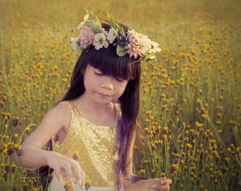 Gold Sequin Flower Gril Dress, Girl Dress ,Gold Sequin girls Dress Shoulder , sparkle Flower Gril dresses, Baby dresses