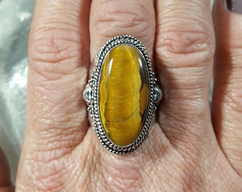 Tiger's Eye Statement Ring - Size 8.75