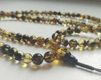 108 bead amber mala for meditation (size Ø7), buddhist meditation, guru bead, 108 bead mala