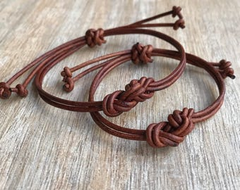 Couples Leather Bracelets, His and her Bracelet, Brown Leather, Eternity Knot Bracelet, Set of 2 LC001133