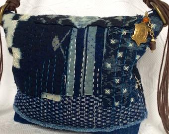 Sashiko Jeans bag, Quilted Indigo patchwork bag, Boro style bag, Quilted boho bag